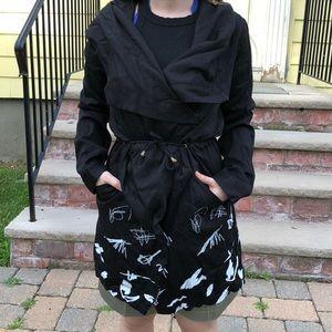 Desigual S/36 black w/white design hooded jacket